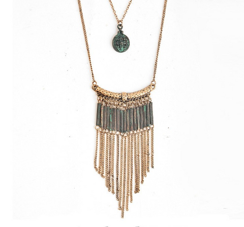 Bohemian Necklace With Vintage Alloy Tassel Pendant