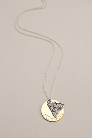 The Betty Collection: I Heart Snacks Pizza Necklace in Brass and Sterling Silver Chain