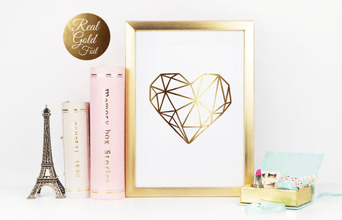 Heart Minimalist Art Print in Real Gold Foil