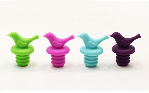 Bird Bottle Stoppers in Colorful Silicone Set of 4