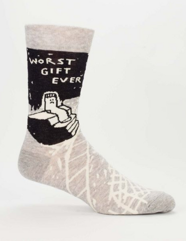 Worst Gift Ever Men's Crew Sock in Grey and Black