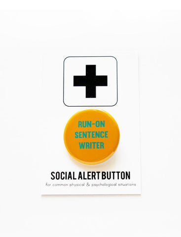 Run On Sentence Writer Button in Yellow and Mint