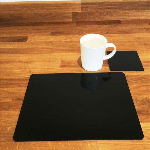 Rectangular Placemat and Coaster Set - Black