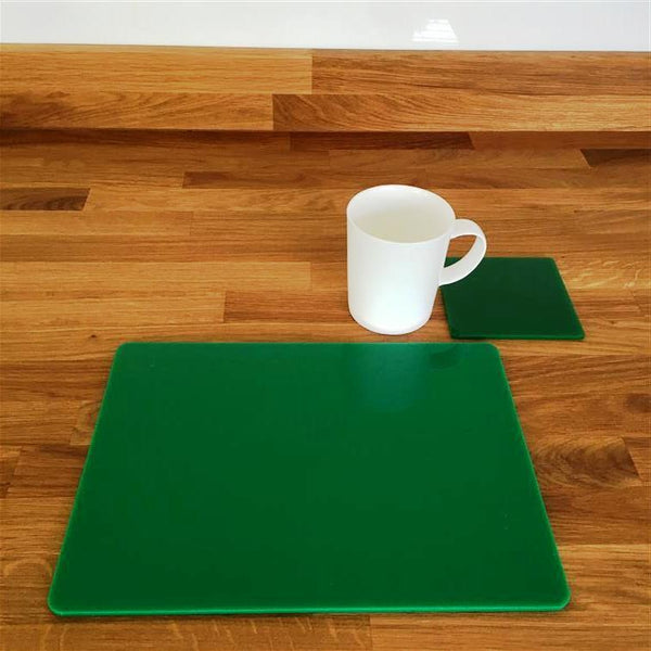 Rectangular Placemat and Coaster Set - Green