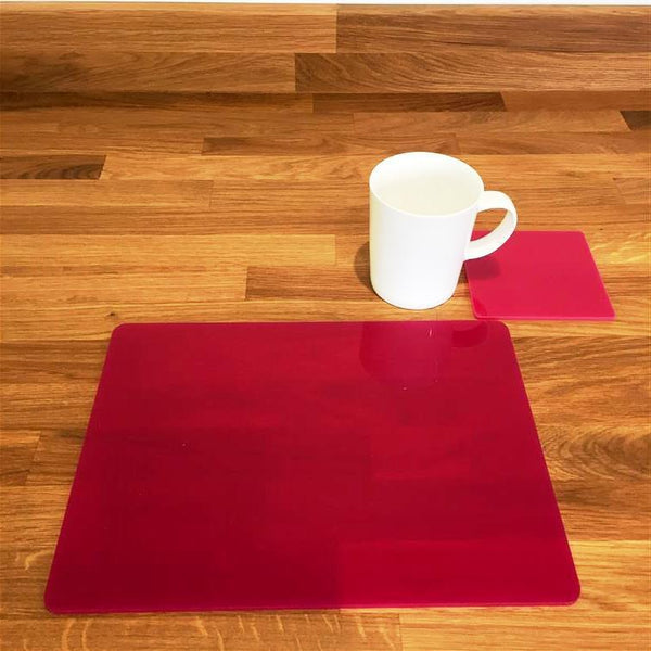Rectangular Placemat and Coaster Set - Pink