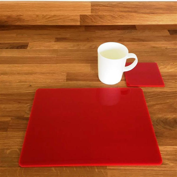 Rectangular Placemat and Coaster Set - Red