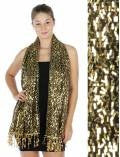 Oblong sequin Party Shawl Black/Gold