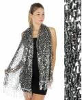 Oblong sequin Party Shawl Black/Silver