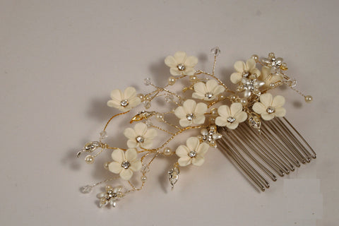 Pearl with Swarovski Crystal Silver Side Comb