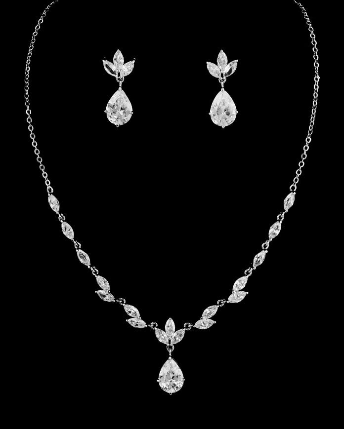 CZ Marquis and Pear Necklace Set DR-300