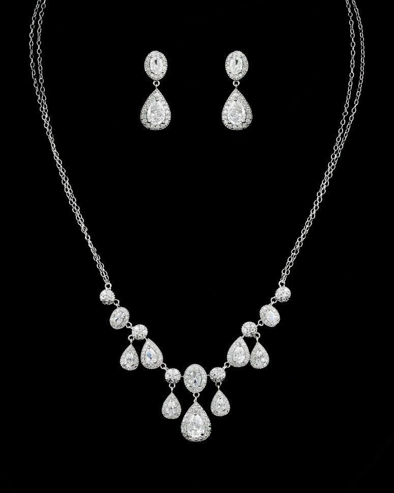CZ Oval and Pear Dangle Necklace Set DR-456