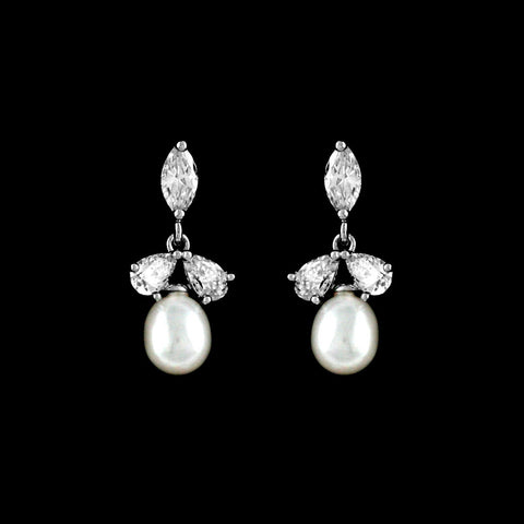 CZ and Freshwater Pearl Earrings EA-212