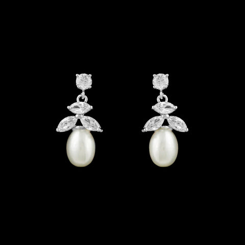 CZ and Freshwater Pearl Earrings EA-293
