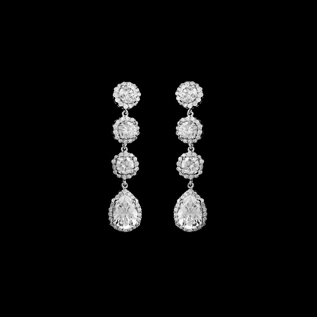 CZ 4 Tier Dangle Earrings EA-353