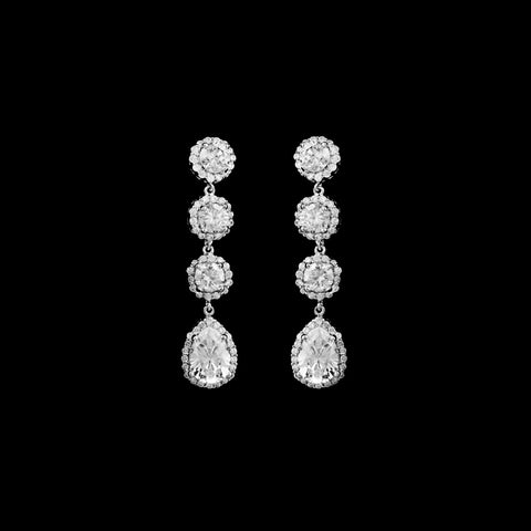 CZ 4 Tier Dangle Clip on Earrings EA-353C
