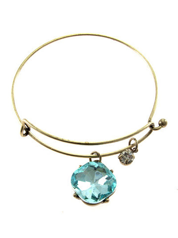 Aquaa Crystal on Gold Tone Metal Hook Bracelet