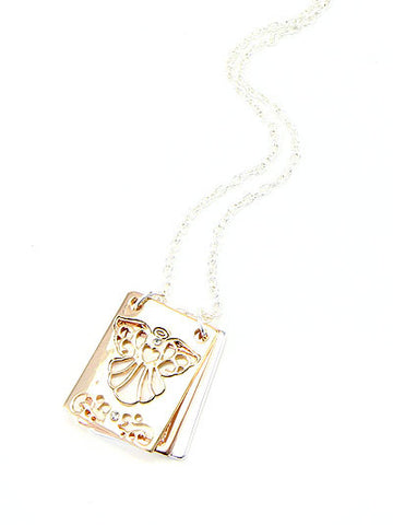 ANGEL LETTER ENGRAVED/FLIP PENDANT NECKLACE