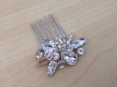 Gold Rhinestone and Crystal Hair Comb