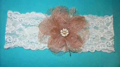 Antique Lace Garter w/Taupe Flower