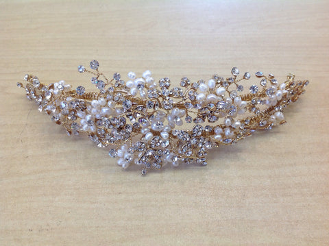 Freshwater Pearl Crystal Gold Hair Piece