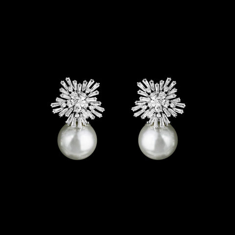 CZ and pearl Clip-on Earrings ME-2903