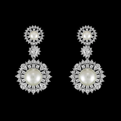 CZ and Pearl Dangle Earrings ME-3884