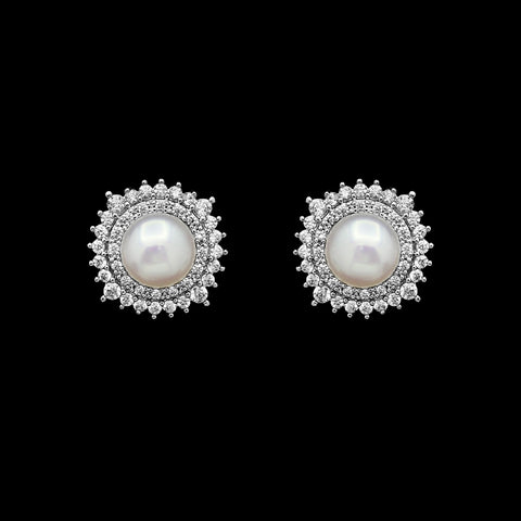 Cz and freshwater pearl stud earrings ME-3893