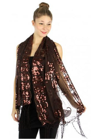 Paisley sequins scalloped border shawl Brown MSF2300-4