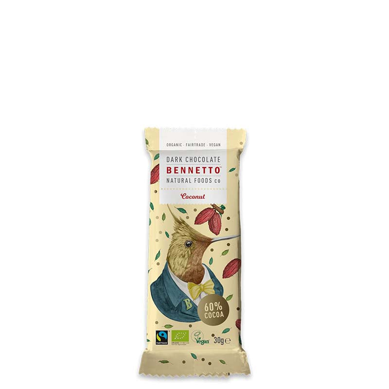 Bennetto Natural Foods Organic 60% Dark Chocolate with Coconut - Natural Supply Co