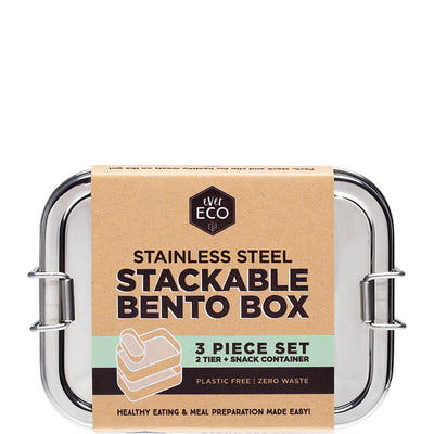 Ever Eco Stackable Stainless Steel Bento Box - 2 Tier + Mini Container - Natural Supply Co