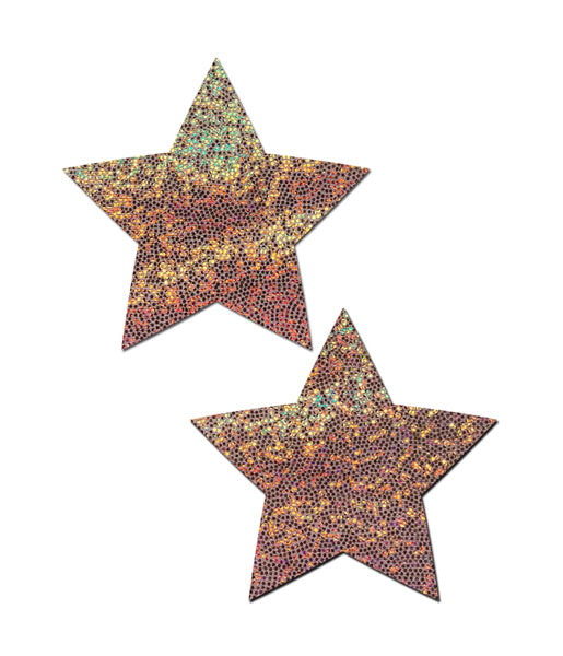 STAR NIPPLE PASTIES - ROSE GOLD GLITTER