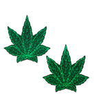 POT LEAF NIPPLE PASTIES - GREEN GLITTER