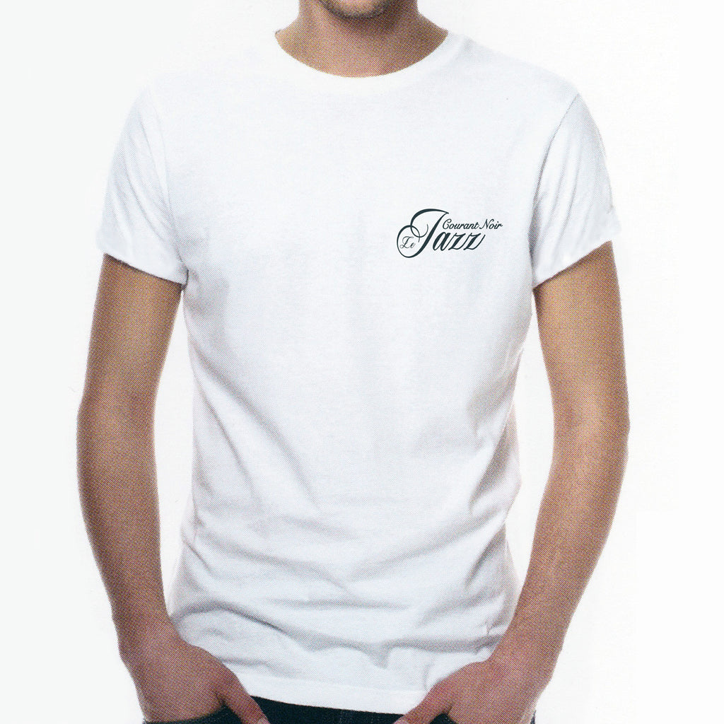 "//038// - Men's White ""Le Jazz Courant Noir"" (Blackcurrent Jazz) Logo T-Shirt"