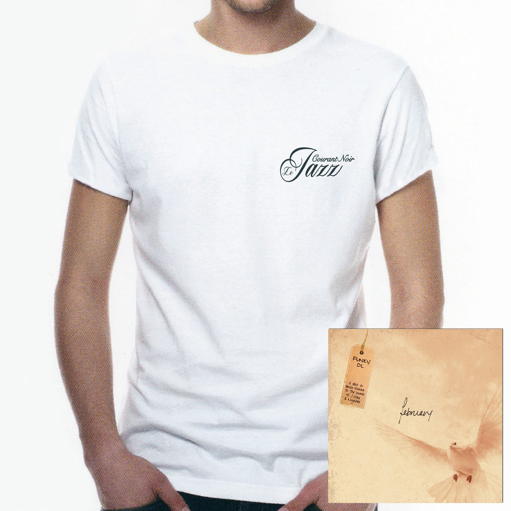 "//407// - Men's White ""Le Jazz Courant Noir"" (Blackcurrent Jazz) Logo T-Shirt + CD Album"