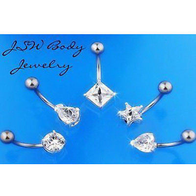 5pcs Shaped CZ Gem Solitaire 14g Belly Navel Rings