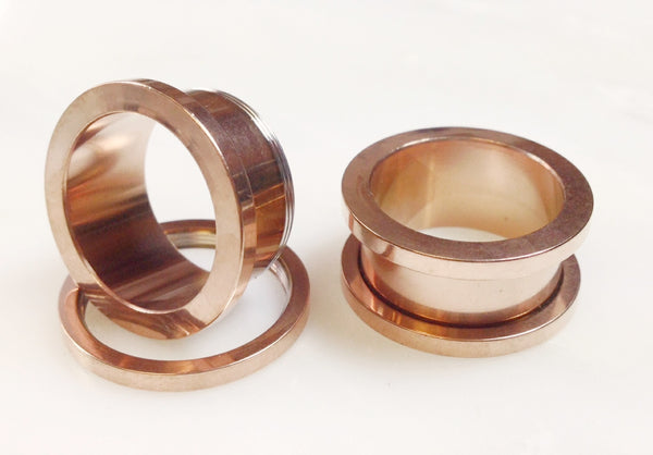 Screw Fit Flesh Tunnels Rose Gold - PAIR