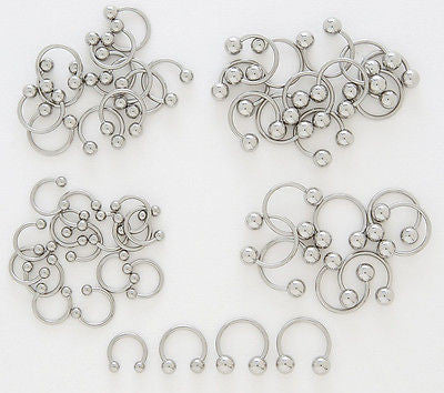 10pcs Steel Ball Horseshoe Circular Barbells