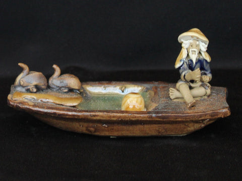 "3"" Fisherman on Boat with Birds Clay Mudmen Bonsai Figurine"
