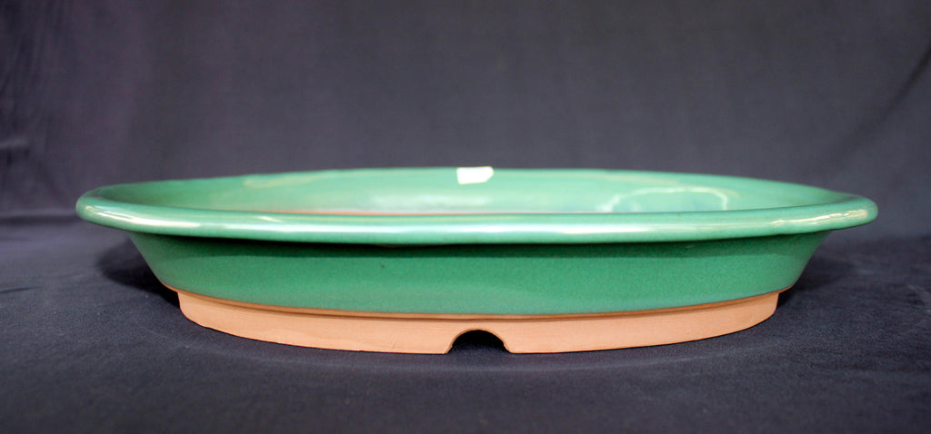 "Japanese #36-63 Olive Green Glazed 14""L Oval Forest Ceramic Bonsai Pot"