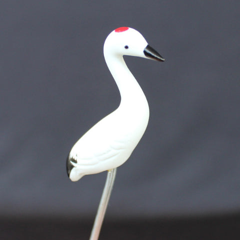 "3.5"" Red Crown White Tsuru Crane Mudmen Bonsai Figurine"