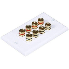 1-Gang TechCraft High Quality Speaker Wallplate - 4 Pair Banana Binding Post