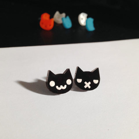 Black and White Grumpy Kitty / Happy Kitty Stud Earrings