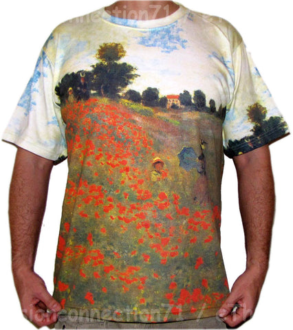 Claude Monet Poppies French Impressionist Art Print T Shirt Mens Short Sleeve M L XL