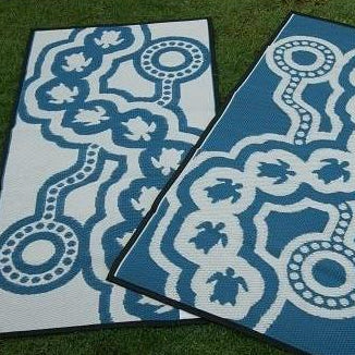 Starwin Social Enterprise, Aboriginal Mats - Little Turtle Blue 1.8 x 0.9m