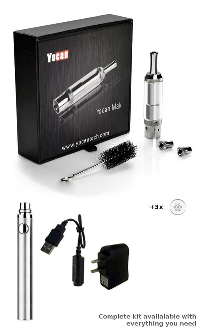 Yocan Mak Dry Herb and Wax Atomizer Vape Kit with Battery, Charger, and Screens
