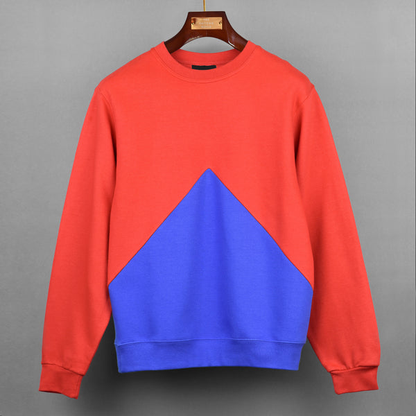 Red With Blue Triangle Panel Sweatshirt
