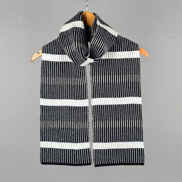 Stripes Pattern Scarf Black and White