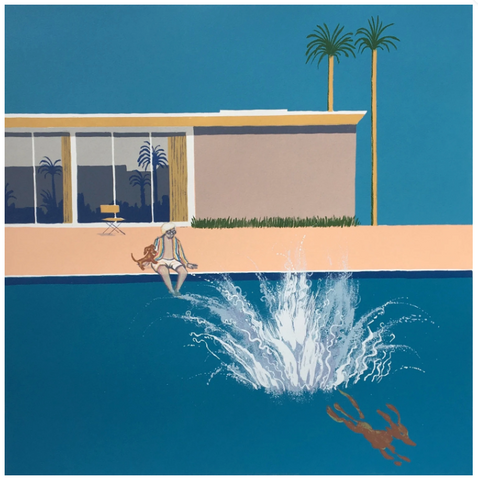Hockney's Dog - An Even Bigger Splash (24/50) framed