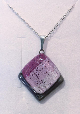 Mauve Frosted Square Pendant
