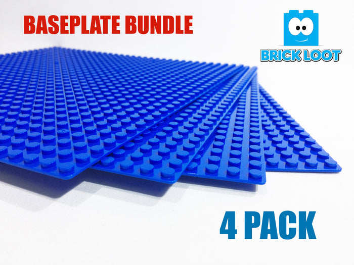 "Baseplate Bundle - 4 pack of BLUE 32x32 - 10"" x 10"" Base Plates"